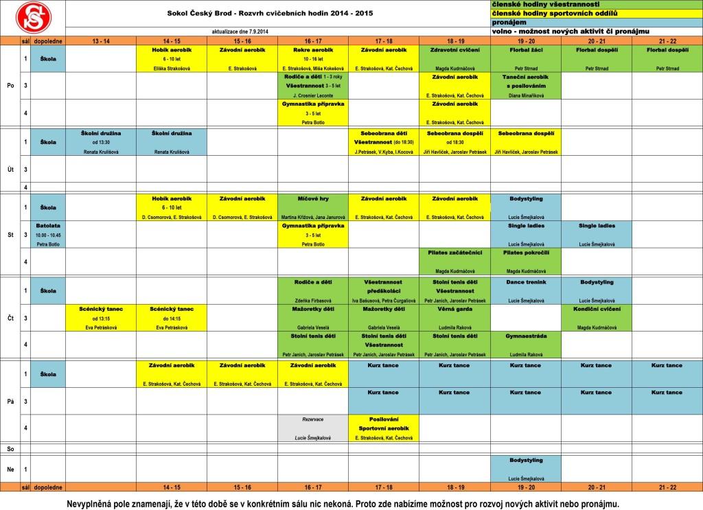 Rozvrh sokolovna 2014 - 2015