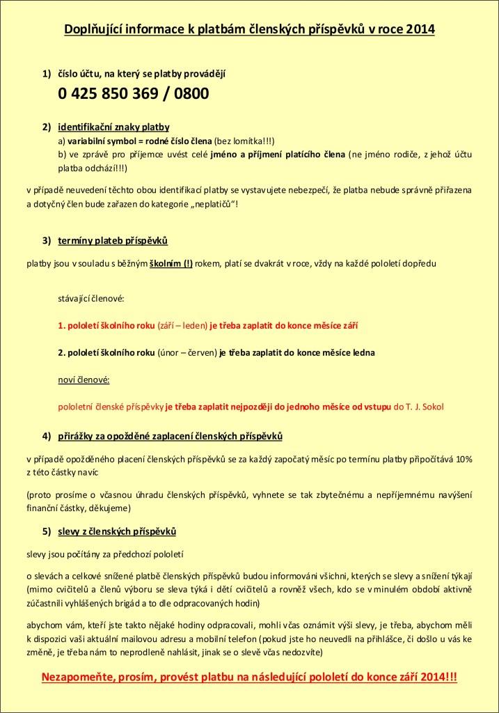 Doplňující informace k platbám členských příspěvků v