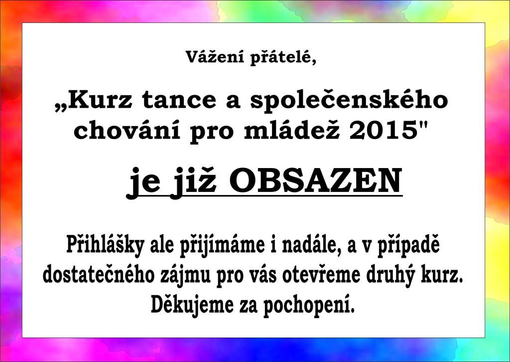 Taneční 2015 - obsazeno